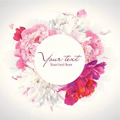 Pink, red and white peony background