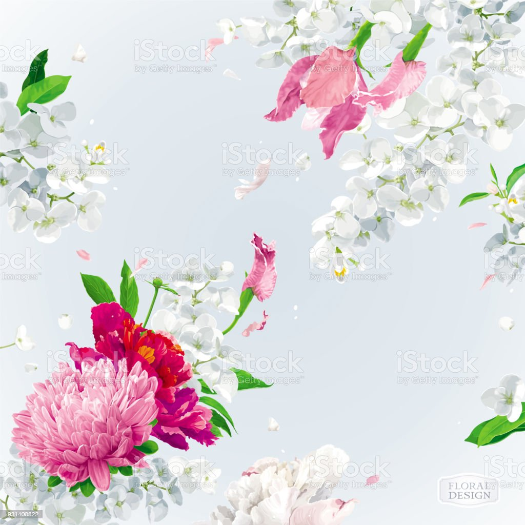 Pink Red And White Summer Flowers Background Stock Vector Art More