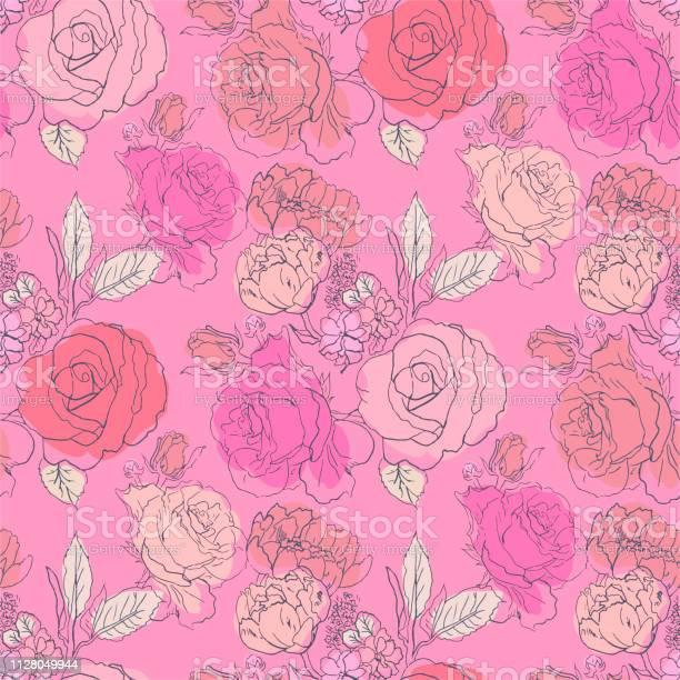 Pink red roses flowers pattern stylish trendy fresh flowers seamless vector id1128049944?b=1&k=6&m=1128049944&s=612x612&h=zskrj43ghuo9btwftgdpva8fg1ujluqjhtxg1djlyaq=