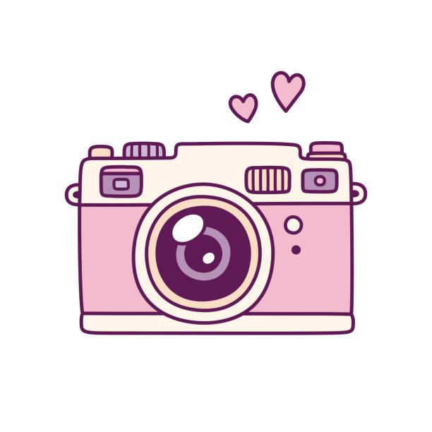 ピンクのレトロな写真カメラ - カメラ点のイラスト素材/クリップアート素材/マンガ素材/アイコン素材