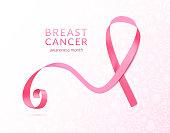 Pink ribbon banner, vector illustration