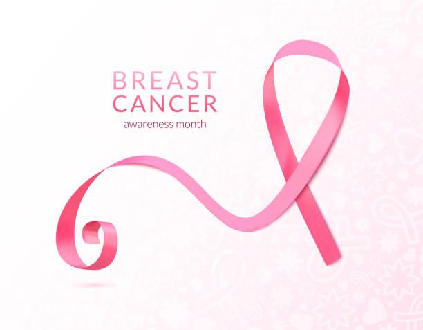 ilustrações, clipart, desenhos animados e ícones de bandeira de fita rosa, ilustração vetorial - pink october