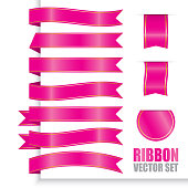 Pink ribbon banner with gradient colour set, Tag and label. Vector Illustration