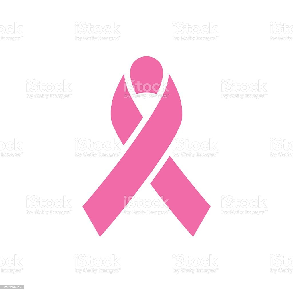 Pink ribbon, breast cancer awareness symbol vector art illustration