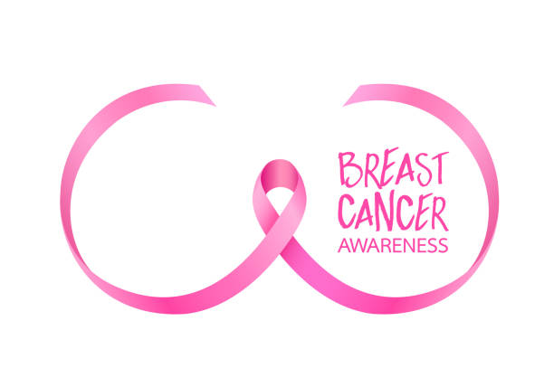 Pink ribbon curve in breast shape. Breast Cancer Awareness Month Campaign. Icon design. Vector illustration isolated on white background. breast stock illustrations