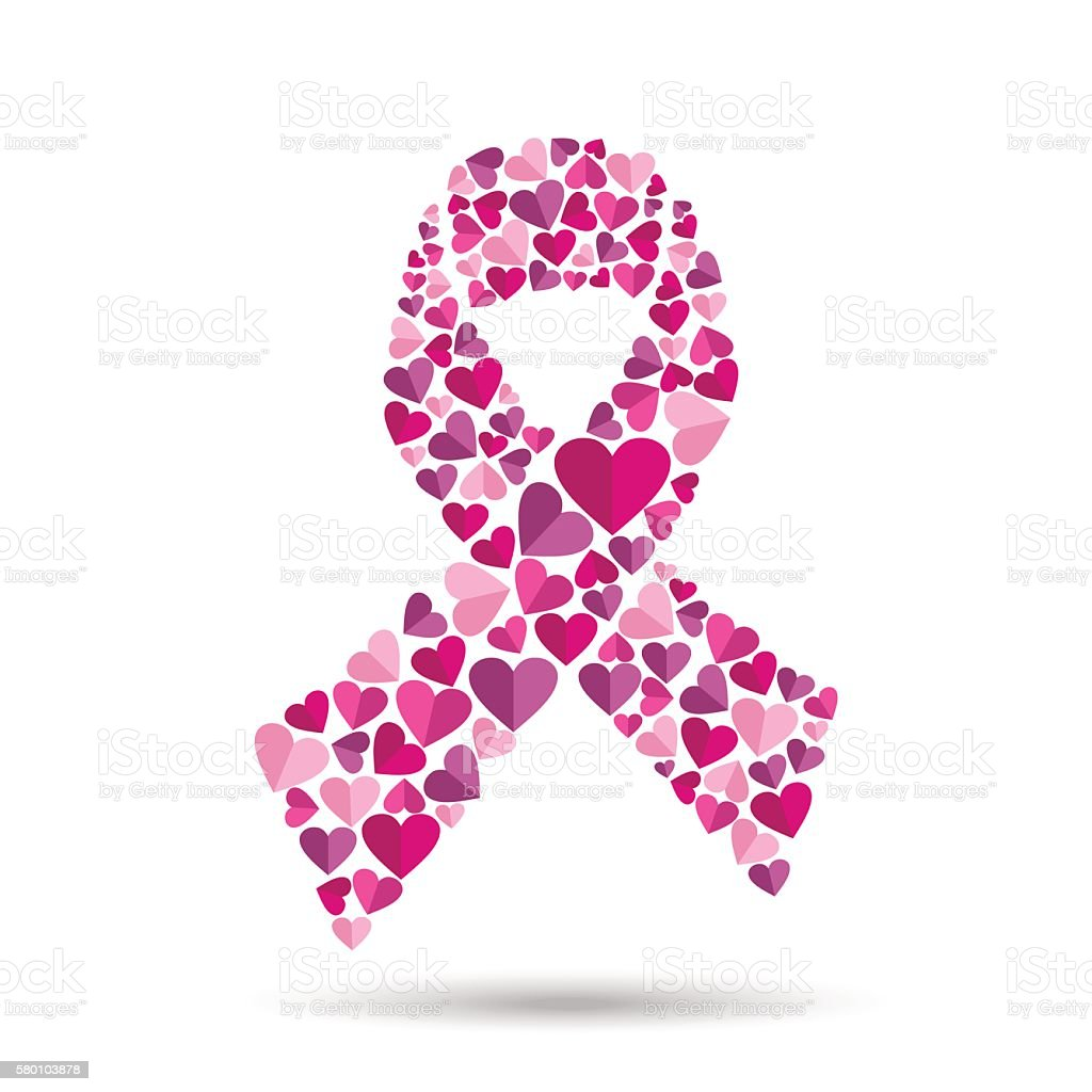 Pink ribbon design with heart for breast cancer vector art illustration