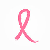 Pink ribbon painted with watercolour brush. Symbol of the fight against breast cancer. Sketch, grunge, watercolor, graffiti. Simple isolated vector illustration.