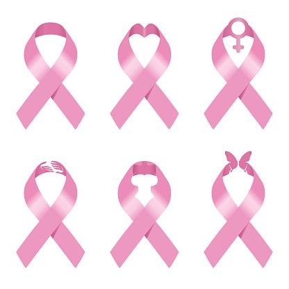 Pink ribbon sign vector illustration set design for Breast cancer awareness