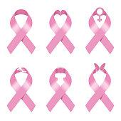 istock Pink ribbon sign vector illustration set design for Breast cancer awareness 1319199765