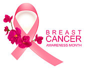 Pink ribbon symbol breast cancer awareness month. Vector illustration text poster
