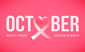 Pink ribbon over white background with shadow. Symbol of world breast canser awareness month in october. Template poster. Vector illustration.