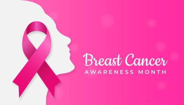 ilustrações de stock, clip art, desenhos animados e ícones de pink ribbon symbol on woman face silhouette for breast cancer awareness month poster background concept design vector illustration - tape face
