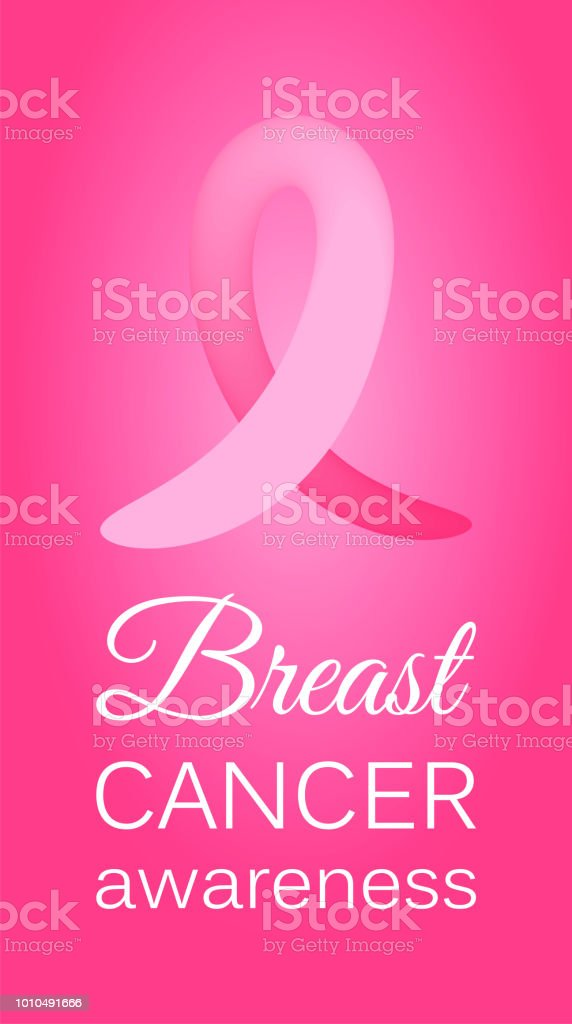Pink ribbon to World Breast Cancer Awareness month. Bright Brest Cancer medical banner