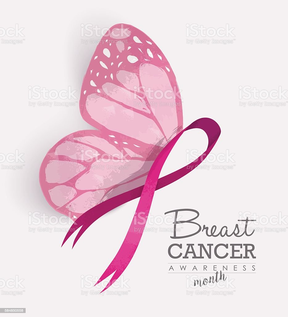 Pink ribbon with butterfly wings for breast cancer vector art illustration