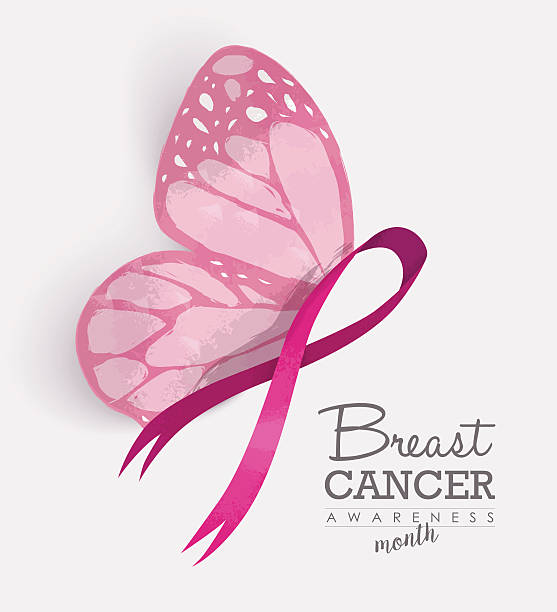 pink ribbon with butterfly wings for breast cancer - breast cancer awareness stock illustrations
