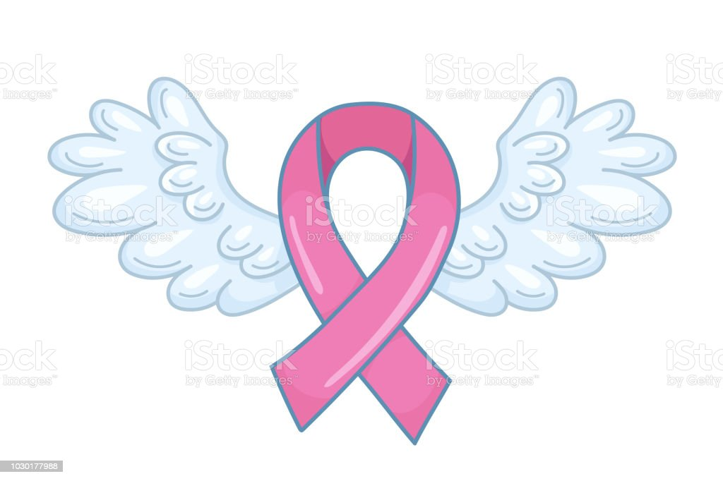 Pink Ribbon With Spread Angel Wings As A Symbol Of Hope And Support
