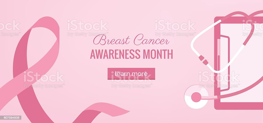 Pink Ribbon womens breast cancer awareness banner with stethosco vector art illustration