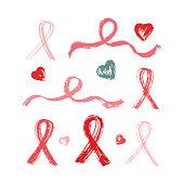 Pink ribbons grunge brush strokes. Symbols of breast cancer awareness