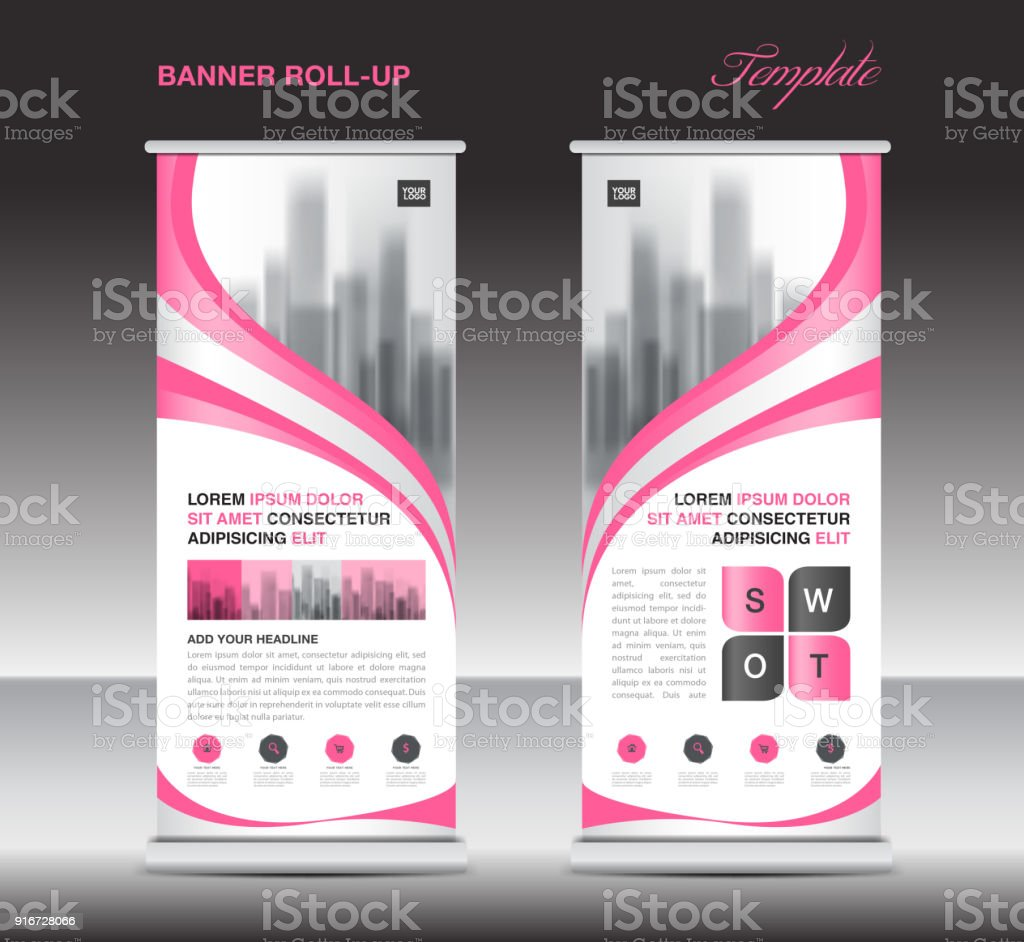 pink roll up banner template stand display xbanner jflag pullup