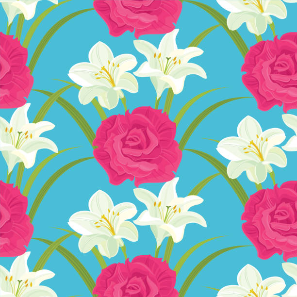 Pink Rose and White Lilies. Floral seamless pattern. vector art illustration