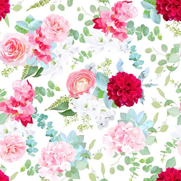 rosa rose, kamelie, rote dahlien, hortensien, blaue sukkulenten, whi - zeichensetzung stock-grafiken, -clipart, -cartoons und -symbole