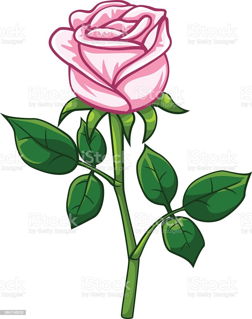 Pink Rose Cartoon Style Stock Vector Art More Images Of Cartoon