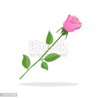 Pink rose on white background. Valentine day. Vector Illustration.