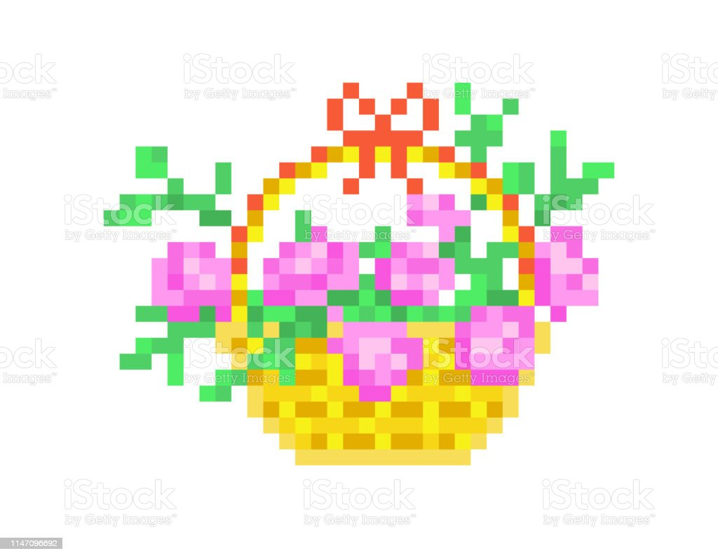 Pink Roses In A Basket Pixel Art Isolated On White