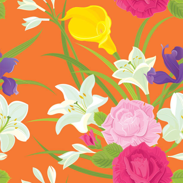 Pink Roses, Iris, White Lilies and Yellow Calla Lily. Floral seamless pattern. vector art illustration