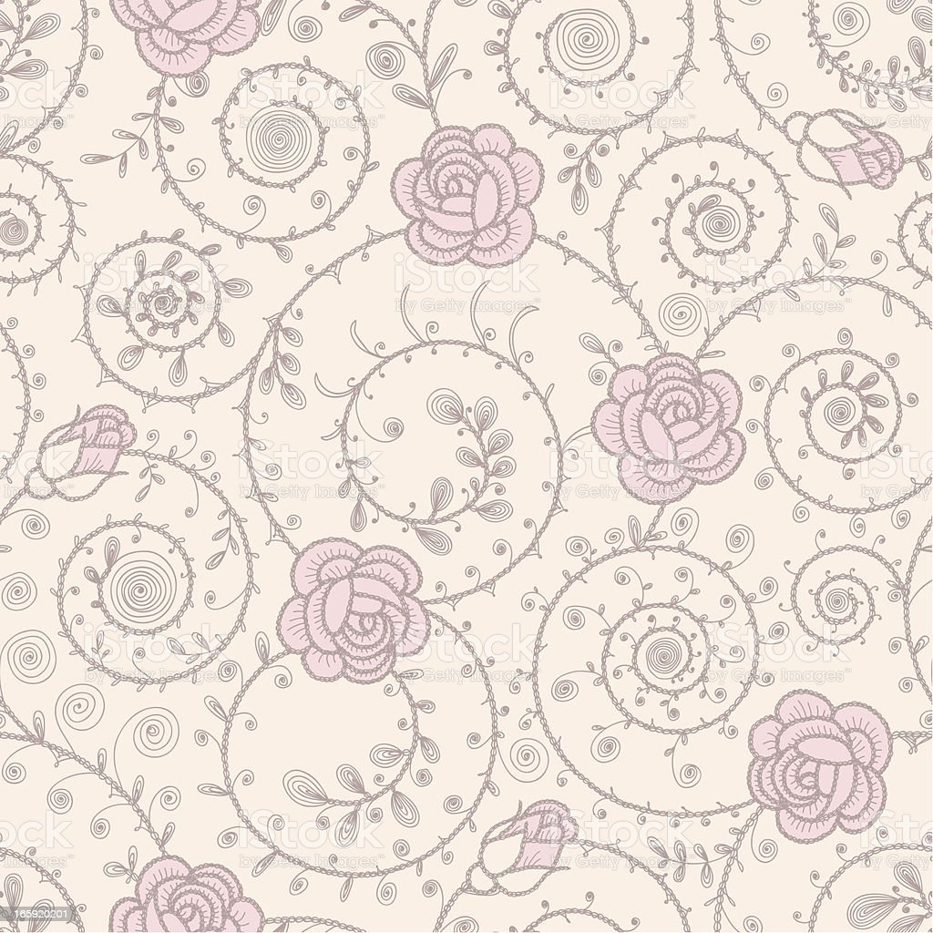 Pink Roses Seamless Pattern royalty-free stock vector art