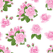 Pink roses with green leaves on a white background seamless pattern. Vectorana flower illustration in cartoon simple flat style.
