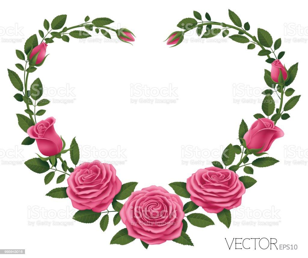 Rosa Rosen mit Herzen Shape_Vector Illustration EPS 10 – Vektorgrafik