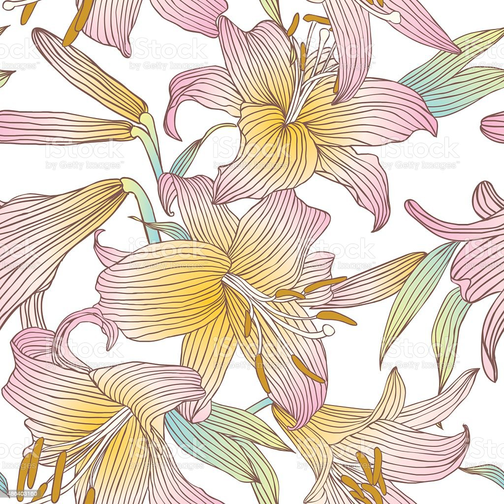 Pink Royal Lilies Flowers On A White Background Stock Vector Art