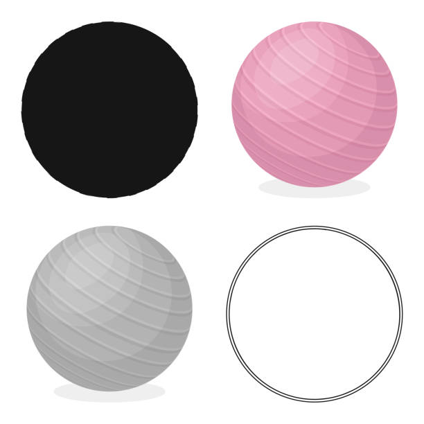 Pink rubber bouncy ball for exercises . Fitball for fitness.Gym And Workout single icon in cartoon style vector symbol stock illustration web - illustrazione arte vettoriale