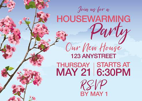 Pink Sakura Cherry Blossoms Vector Housewarming Invitation