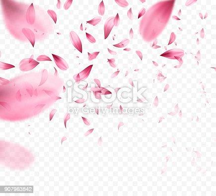 istock Pink sakura falling petals background. Vector illustration 907963842