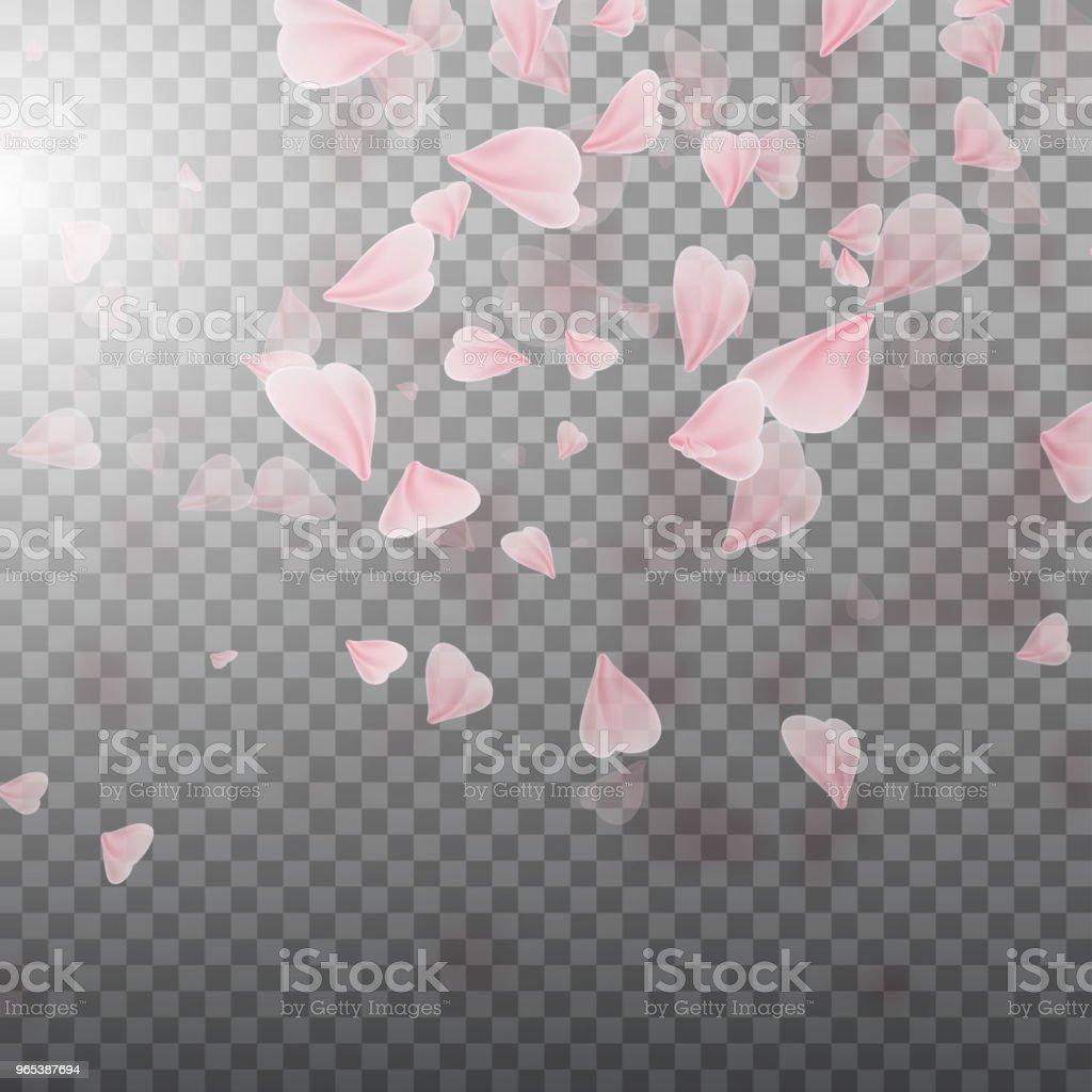 핑크 사쿠라 꽃잎 떨어지는 - 로열티 프리 4월 벡터 아트
