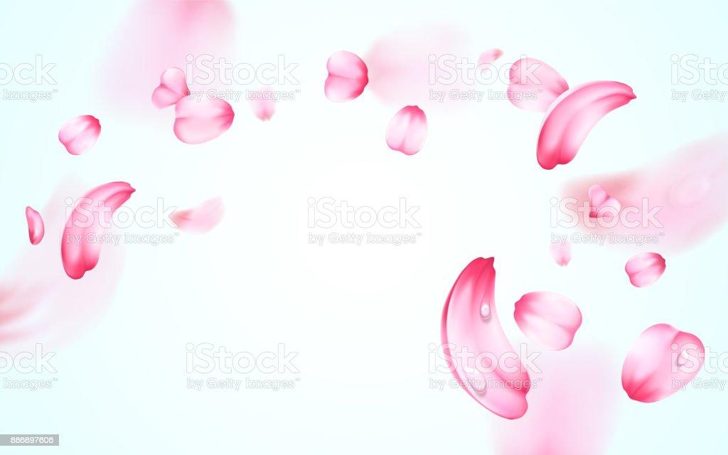 新鮮な桜のピンクのぼかし効果を持つ露滴の水と花びらを落ちるします。ベクトルの背景。3 D 現実的な詳細なロマンチックなイラスト ベクターアートイラスト