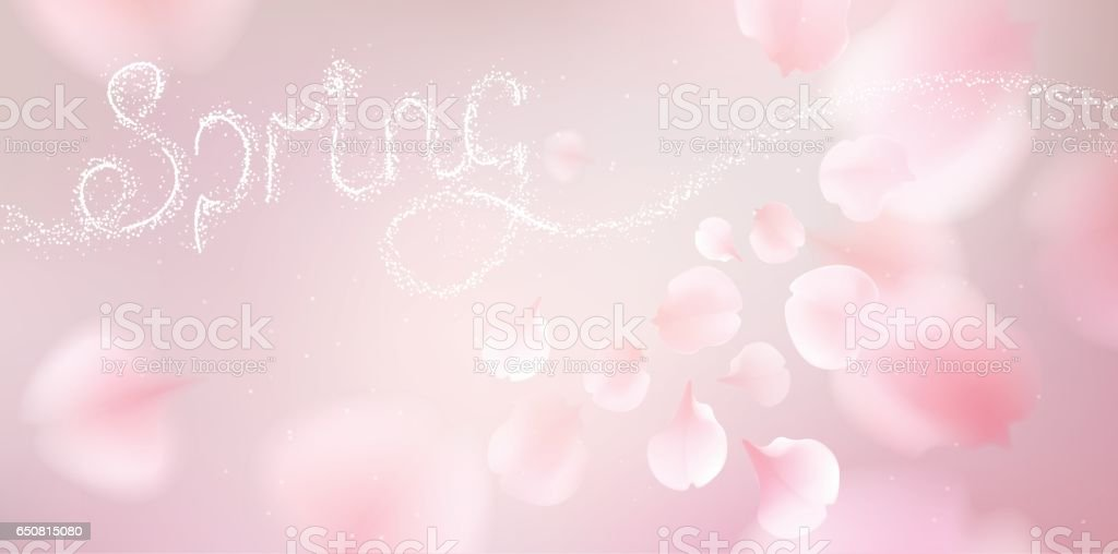 Pink sakura petals falling background - Illustration vectorielle