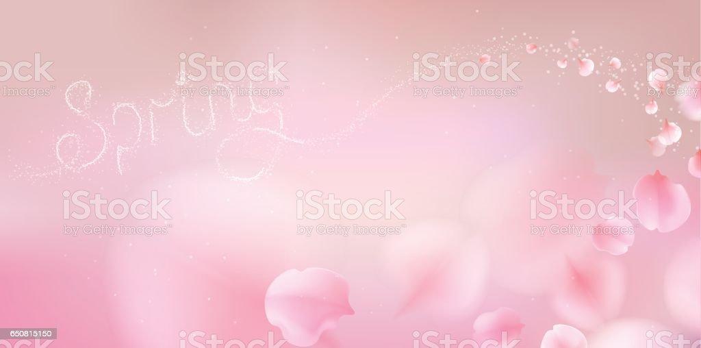 Pink sakura petals falling background vector art illustration