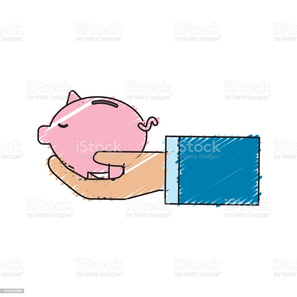 pink save pig in the hand royalty-free pink save pig in the hand stock vector art & more images of bank