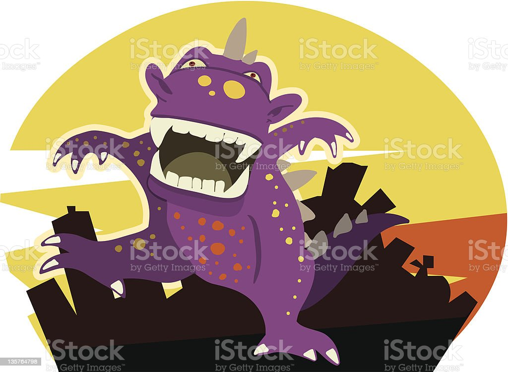 Pink, scary Monster vector illustration royalty-free stock vector art
