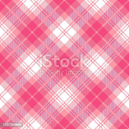 istock Pink Scottish Tartan Plaid Textile Pattern 1257356886