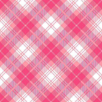 Pink Scottish Tartan Plaid Textile Pattern