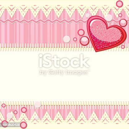 Pink Scrapbook Background With Heart Stock Vector Art More Images