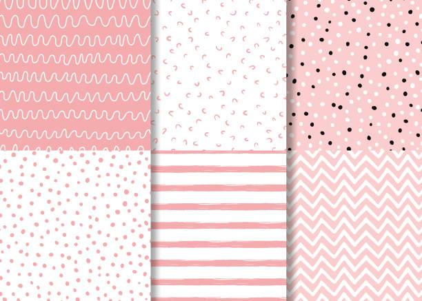 rosa nahtlose muster gezeichnet handgezeichnetkinder-stil. kindlicher einfacher hintergrundvektor - tapete stock-grafiken, -clipart, -cartoons und -symbole