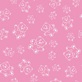 Pink seamless pattern with cute teddy bears. vector image
