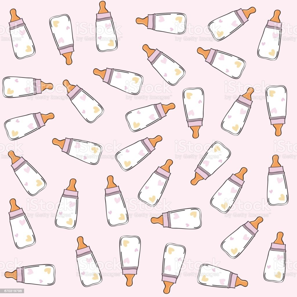 pink seamless pattern with milk bottles vector art illustration