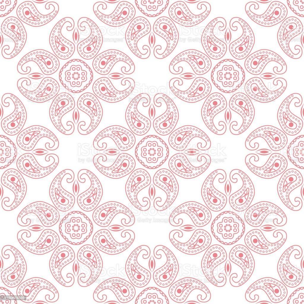Pink seamless print on white background. Indian style pattern - Векторная графика Без людей роялти-фри