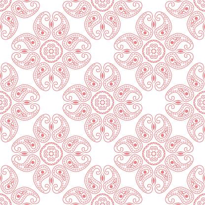 Pink Seamless Print On White Background Indian Style Pattern — стоковая векторная графика и другие изображения на тему Без людей